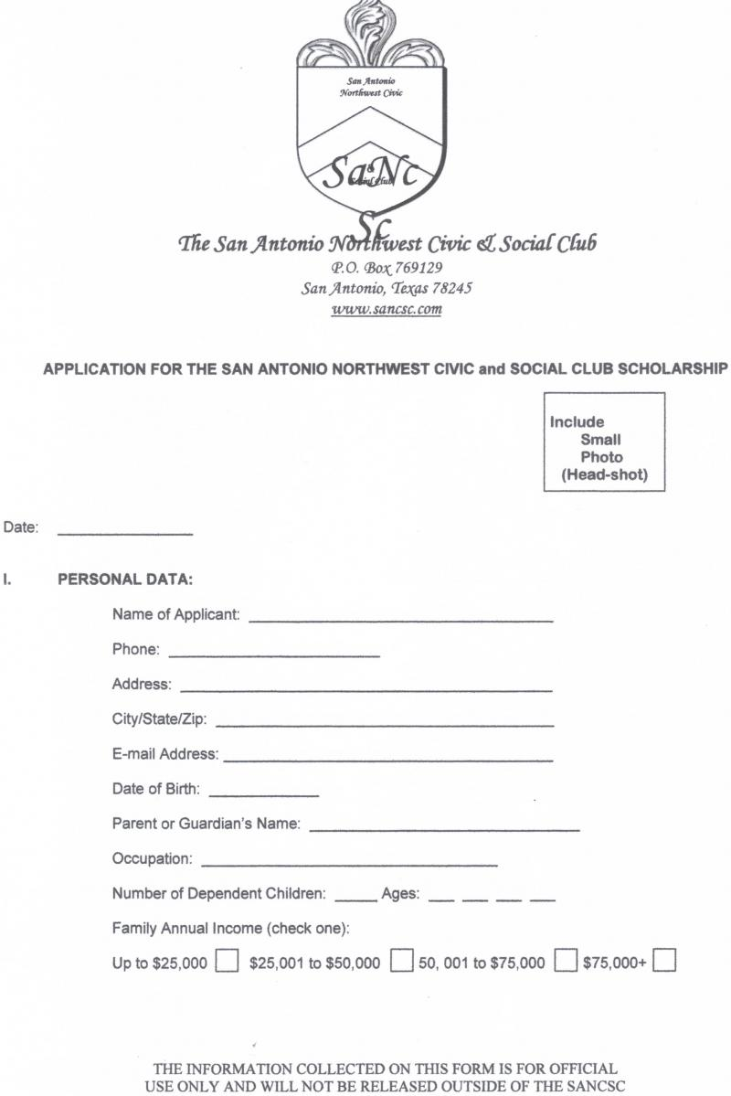 SANCSC SCHOLARSHIP APPLICATION PAGE 1
