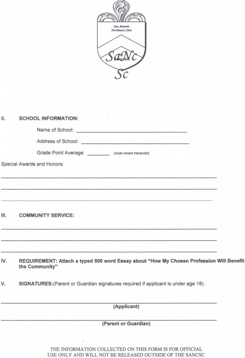 SANCSC SCHOLARSHIP APPLICATION PAGE 2