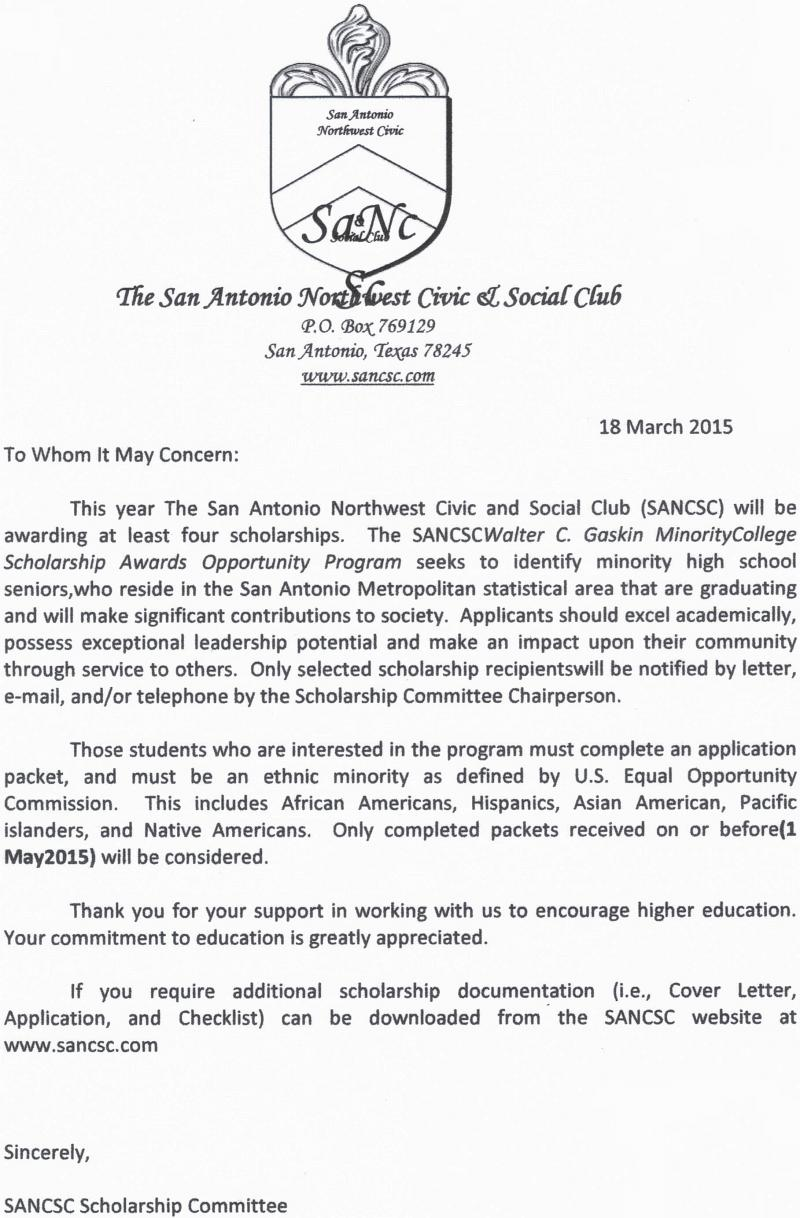 SANCSC SCHOLARSHIP COVER LETTER